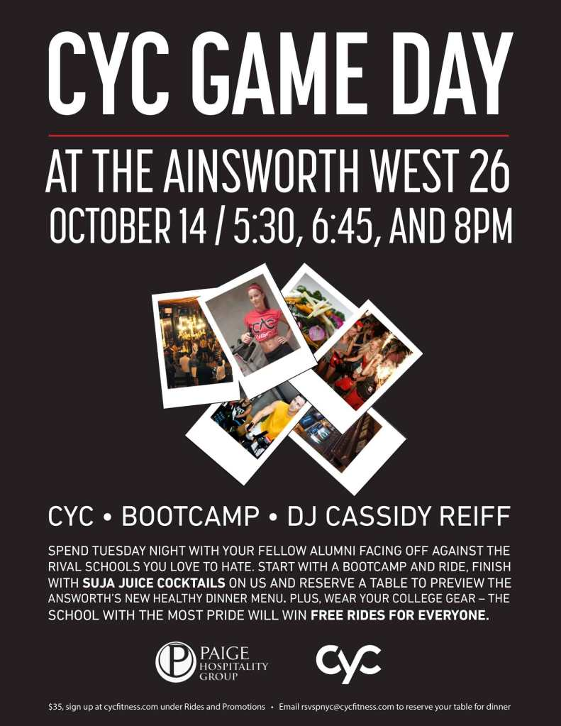 game day, gameday, game day events, game day at the ainsworth, the ainsworth, bootcamp, stephen nitkin, cyc fitness, gyms, david barton, health club, spinning, spin, spinning, indoor cycling, soulcycle, flywheel, cyc fitness, cyc, jessalyn gliebe, workouts