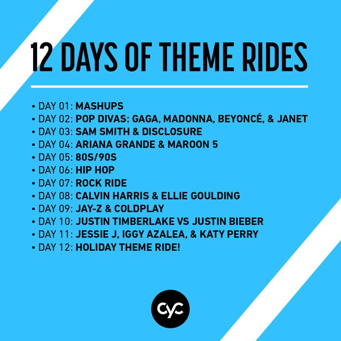 12 Days of Theme Rides, indoor cycling, cyc fitness, cyc, cyc new york, cyc austin, cyc madison, cyc buckhead