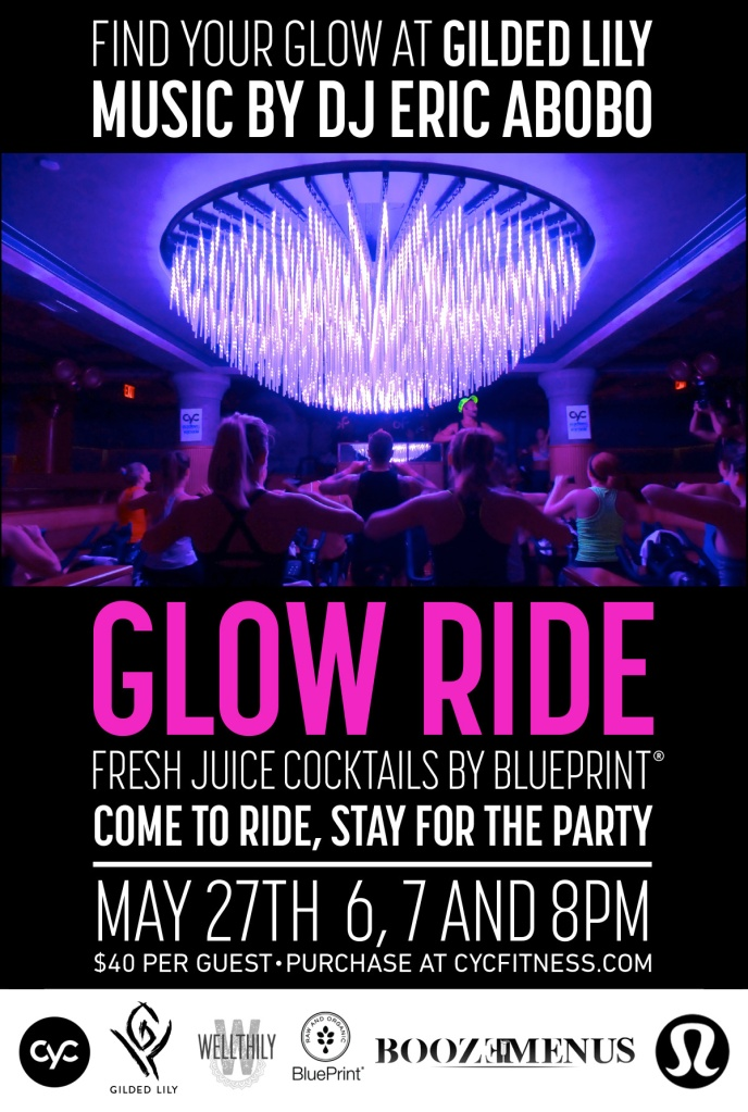 cyc fitness, nyc astor place, glow ride, gilded lily, spin studio, spin event